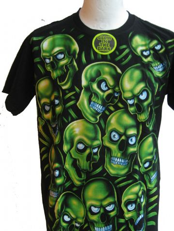 The Green Skulls ' Glow In The Dark ' T Shirt With Large Colour Back Print (1)